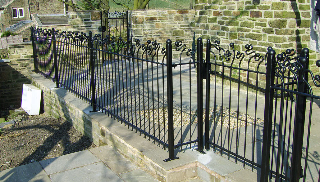 Creatively designed wrought iron fencing
