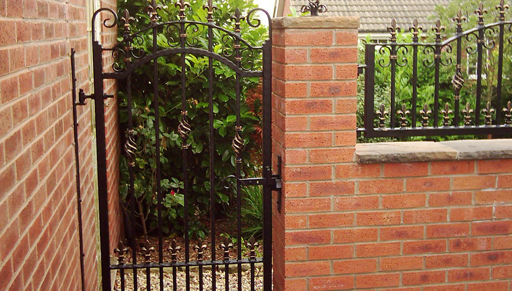 Decorative wrought iron garden gate