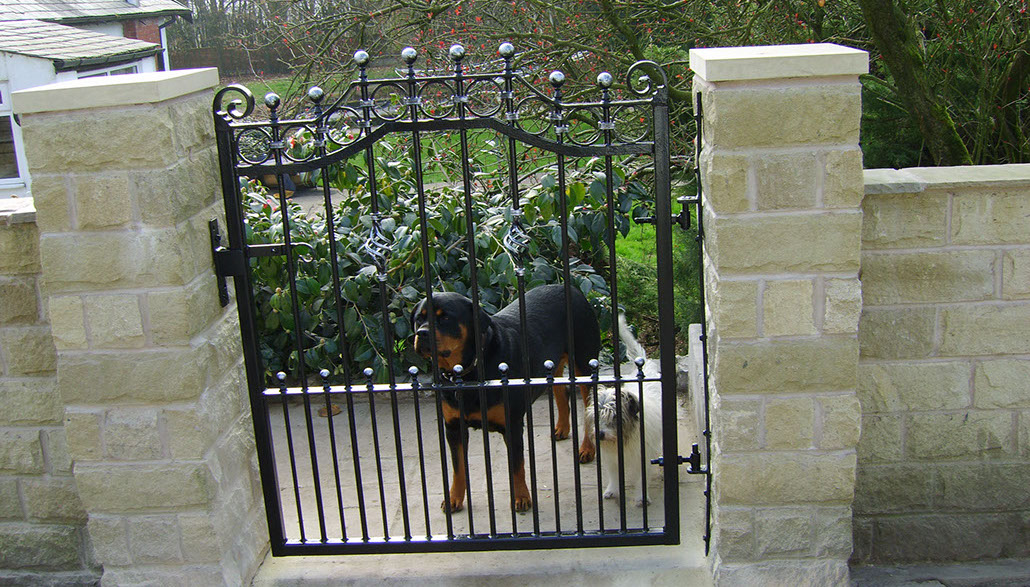 Wrought iron balcony gate and balustrading